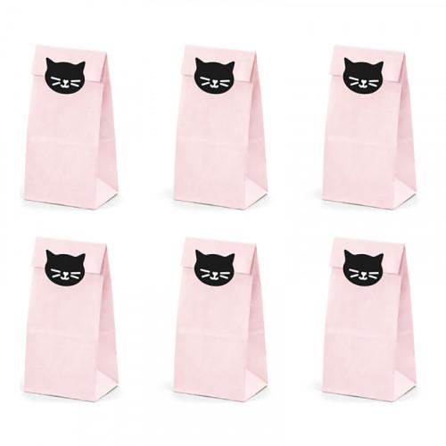 Kalaspåsar Katt Rosa - 6-pack