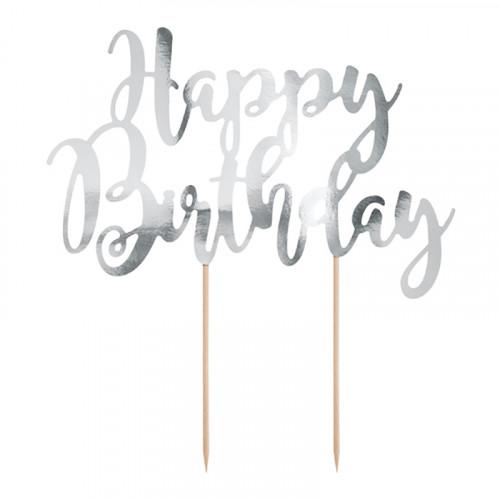 Tårtdekoration Happy Birthday Silver