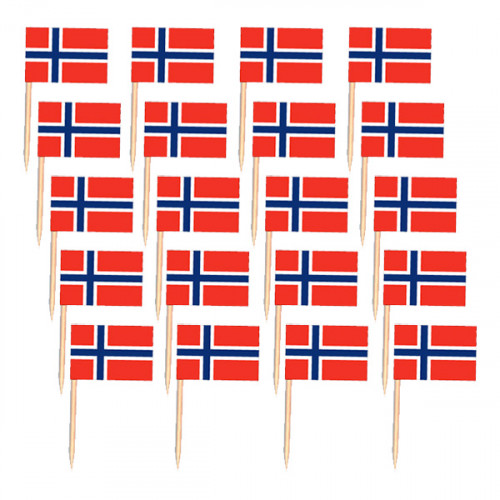 Cocktailflaggor Norge - 50-pack