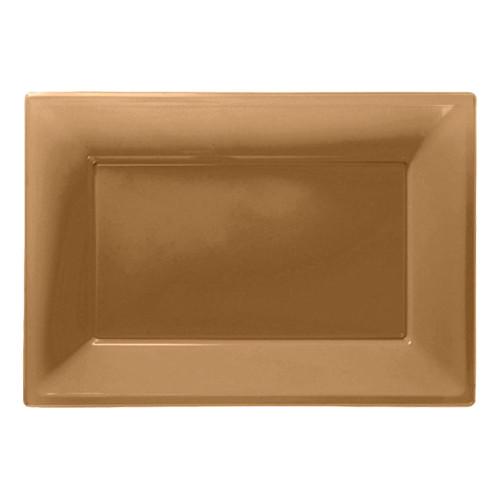 Serveringsfat i Plast Rektangel Guld - 3-pack