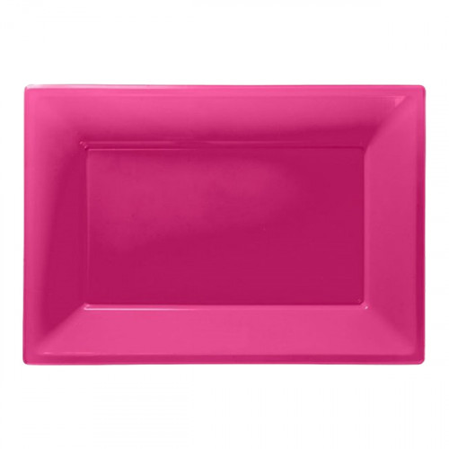 Serveringsfat i Plast Rektangel Rosa - 3-pack