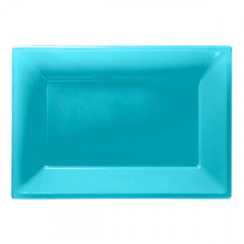 Serveringsfat i Plast Rektangel Turkos - 3-pack