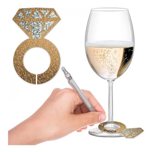 Glasmarkörer Diamantringar Guld Glitter - 24-pack
