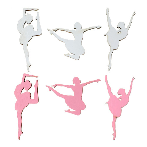 Bordskonfetti Ballerinor Rosa/Vit - 10-pack