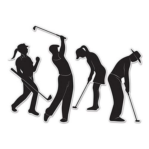 Pappersdekorationer Golfspelare - 4-pack