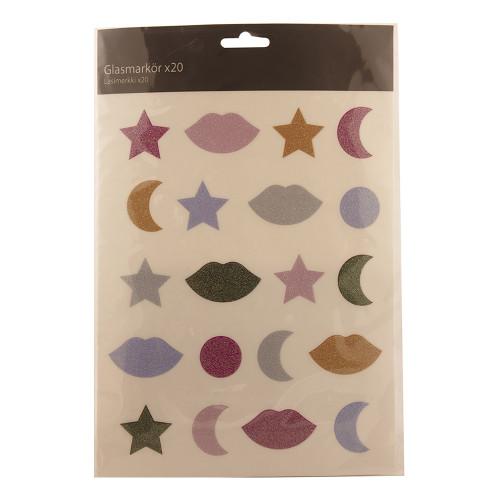 Glasmarkörer Glitter - 20-pack