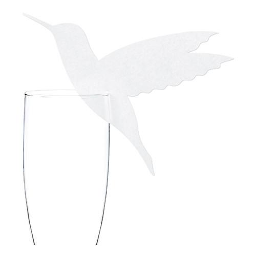 Glasmarkör Fågel Vit - 10-pack