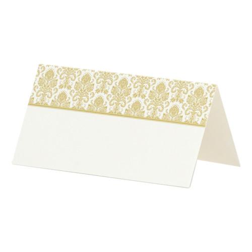 Placeringskort Vit med Guldmönster - 25-pack
