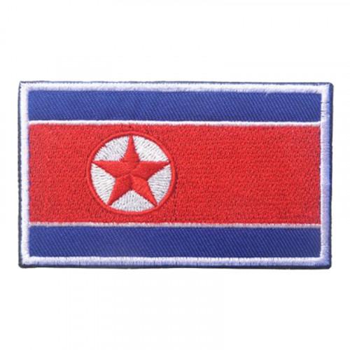 Tygmärke Nordkoreanska Flaggan