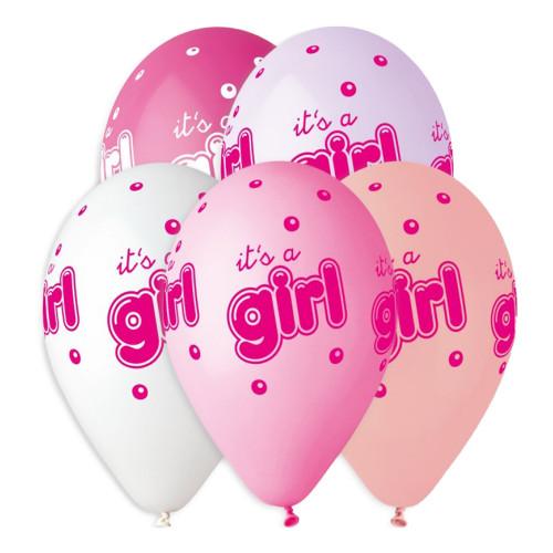 Latexballonger Premium It's a Girl - 5-pack