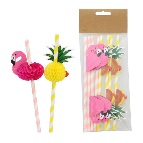 Papperssugrör Flamingo & Ananas - 8-pack