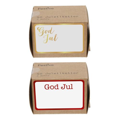 Juletiketter Simple Guld/Röd - 50-pack