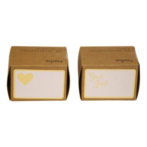 Juletiketter Simple Guld - 50-pack