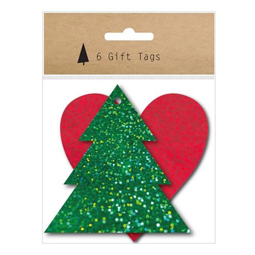 Tags Julgran & Hjärta Glitter - 6-pack