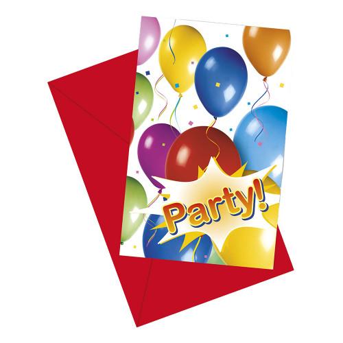 Inbjudningskort Ballongparty - 6-pack