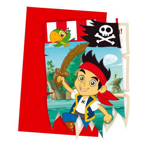 Inbjudningskort Jake och Piraterna - 6-pack