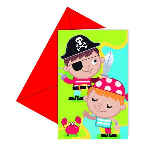 Inbjudningskort Piratbarn - 6-pack