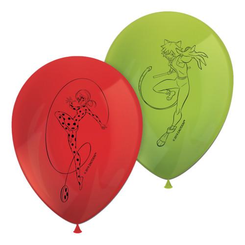 Latexballonger Ladybug Rod/Grön - 8-pack