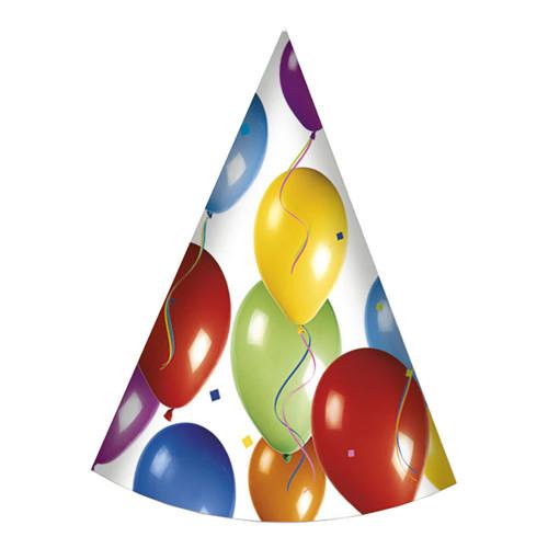 Partyhattar Ballonger Flerfärgade - 6-pack