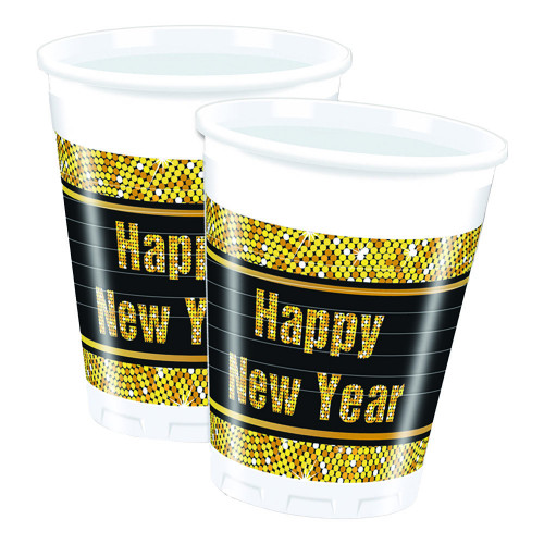 Plastmuggar Happy New Year Guld/Svart - 8-pack