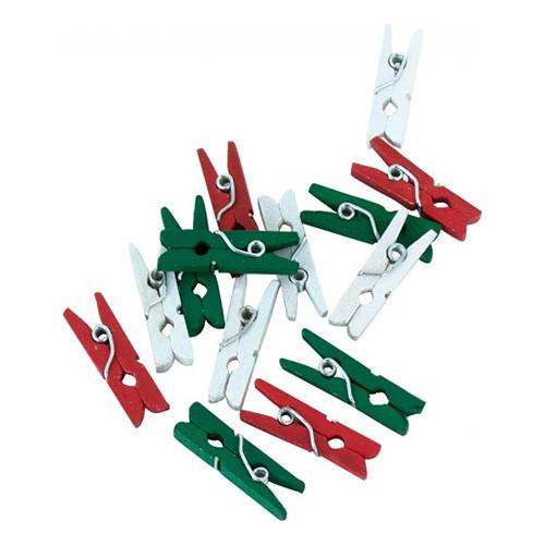 Klädnypor Mini Röd/Vit/Grön - 24-pack