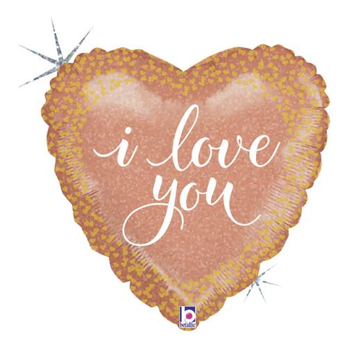 Folieballong Hjärta I Love You Roséguld
