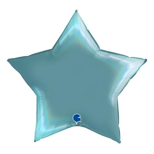 Folieballong Stjärna Rainbow Holografisk Ljusblå