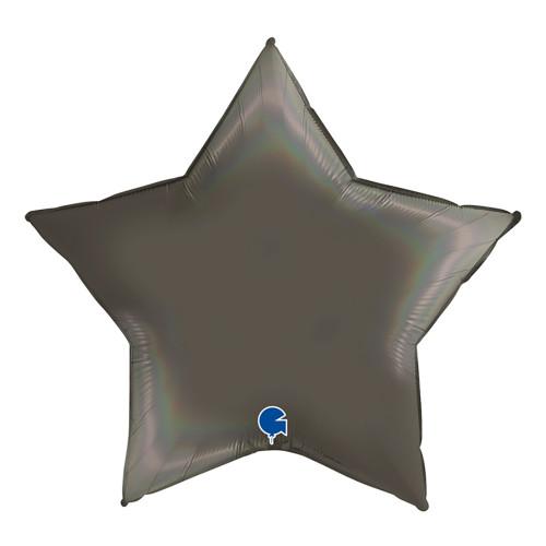 Folieballong Stjärna Holografisk Platinum Grå