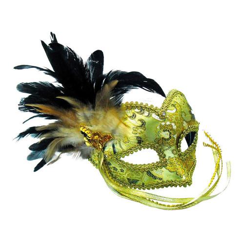 Guldfärgad Maskeradbal Mask - One size