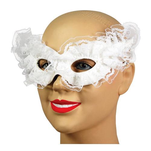 Vit Venetiansk Carnivalmask - One size