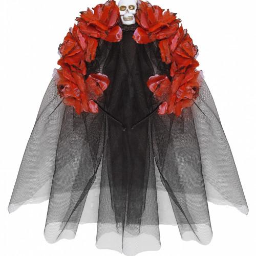 Day of the Dead Diadem med Röda Rosor - One size
