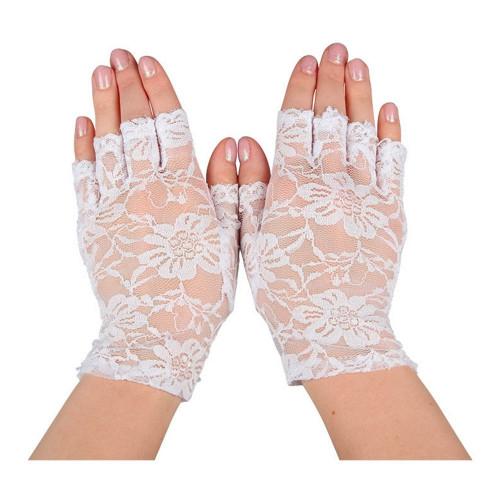 Spetshandskar Halva Fingrar Vita - One size