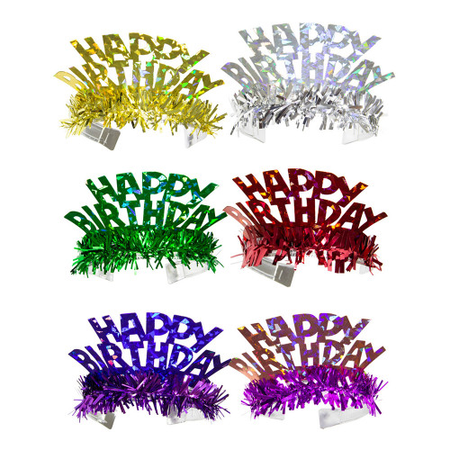 Tiara Happy Birthday Holografiska Flerfärgade - 6-pack