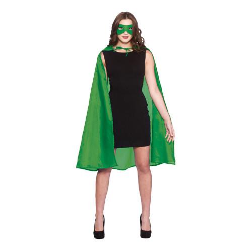 Superhjälte Cape med Mask Grön - One size