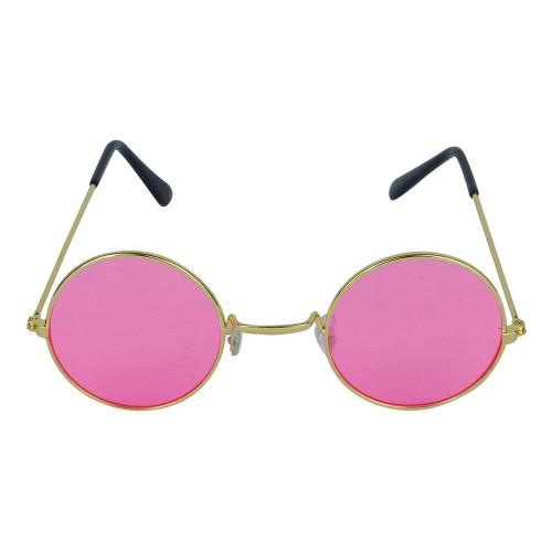Glasögon Runda Rosa med Guldfärgade Bågar