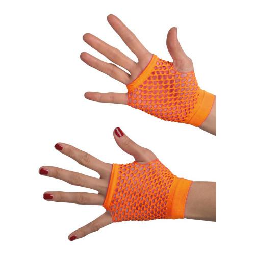 Fingerlösa Näthandskar Orange