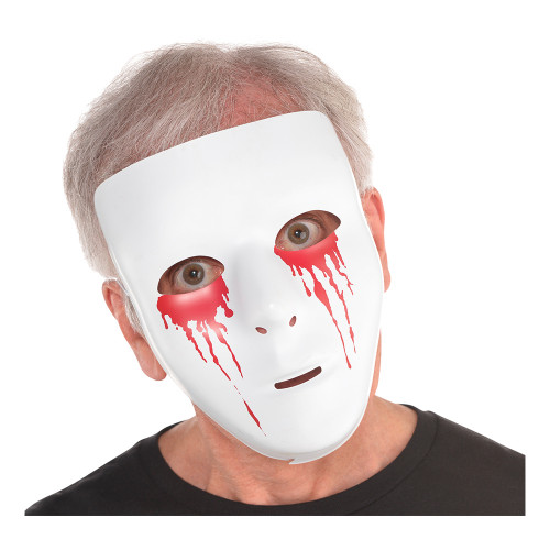 Mask Vit med Blodiga Ögon - One size