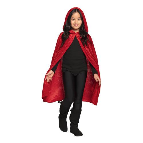 Cape Röd i Sammet för Barn - 115 cm