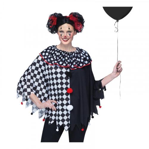 Läskig Clown Poncho - One size