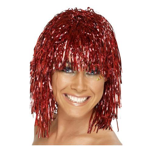 Glitterperuk Röd - One size