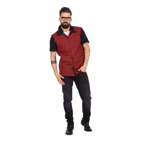 Rockabilly Skjorta Röd/Svart Herr