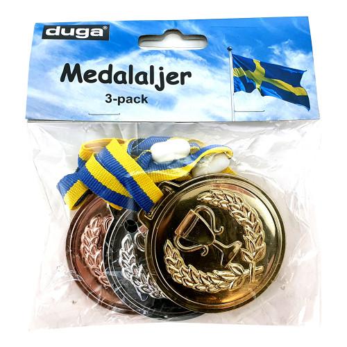 Medalaljer Guld/Silver/Brons - 3-pack