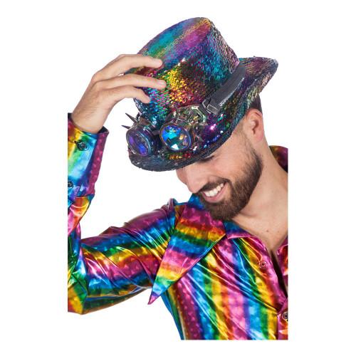 Höghatt Regnbågsfärgad med Glasögon - One size