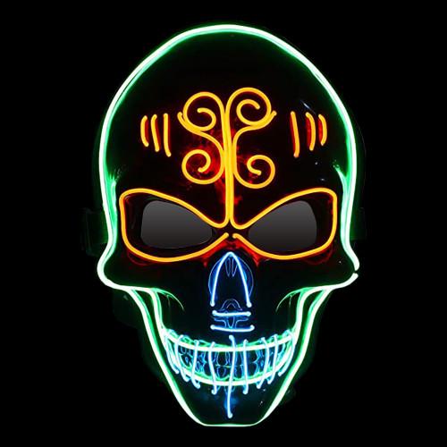 EL Wire Sugar Skull LED Mask - One size