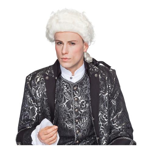 Amadeus Peruk Vit med Hästsvans - One size