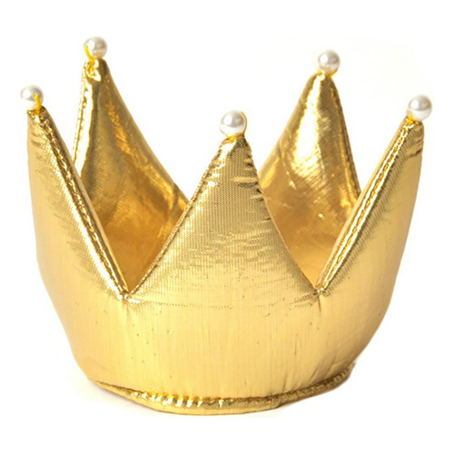 Prinsesskrona Guld med Pärlor Barn - One size