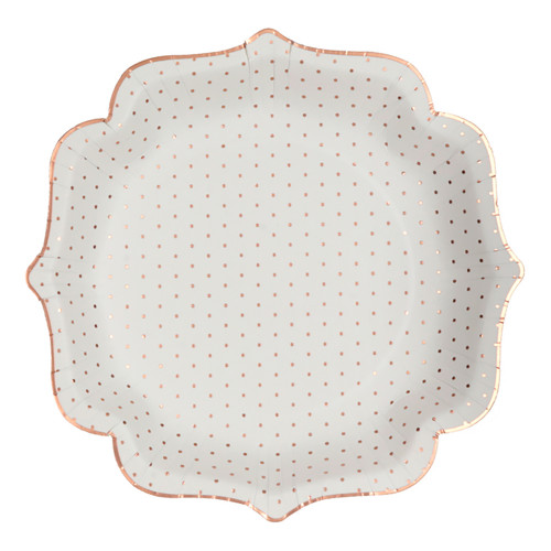 Papperstallrikar Prickig Vit/Guld - 10-pack