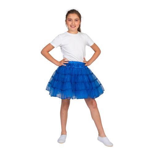 Tyllkjol Barn Glitterblå - One Size
