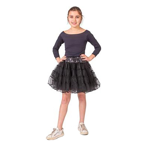 Tyllkjol Barn Glittersvart - One Size