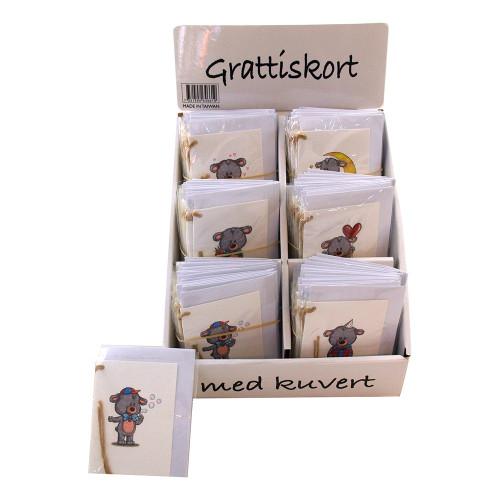 Grattiskort med Kuvert Nalle - 1-pack
